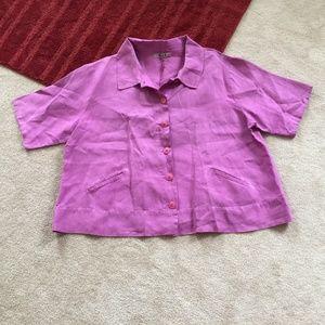 Flax 2G Linen Button Down Shirt Short Slv Pockets